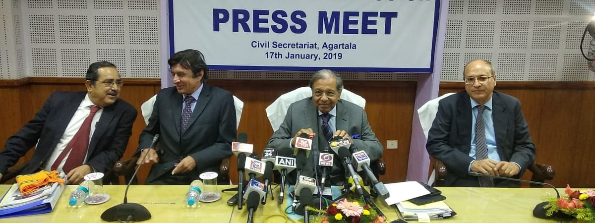 Chairman of 15th Finance Commission NK Singh is addressing a press conference in Agartala Civil Secretariat.