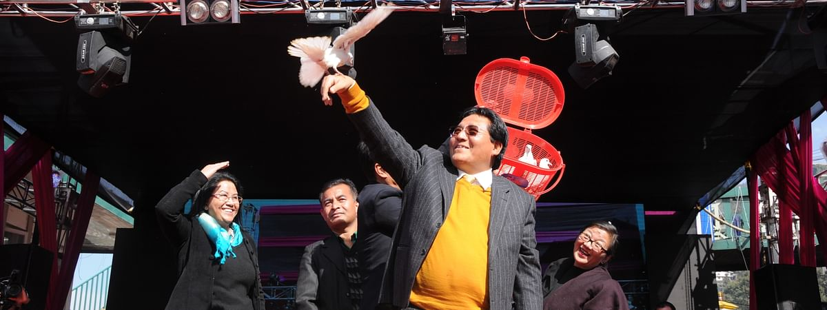 Ugen T Gyatso, Sikkim's minister for tourism and civil aviation, formally inaugurating the festival in Gangtok on Thursday