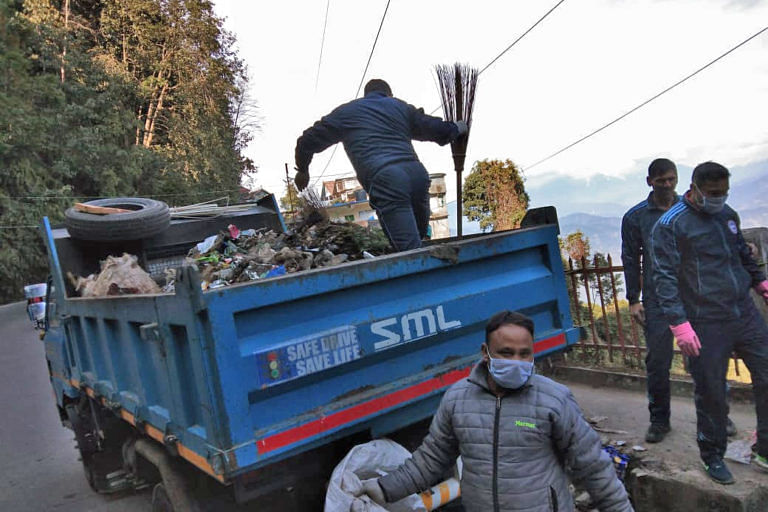 The clean-up drive yielded four trucks of trash from Tenzing Rock