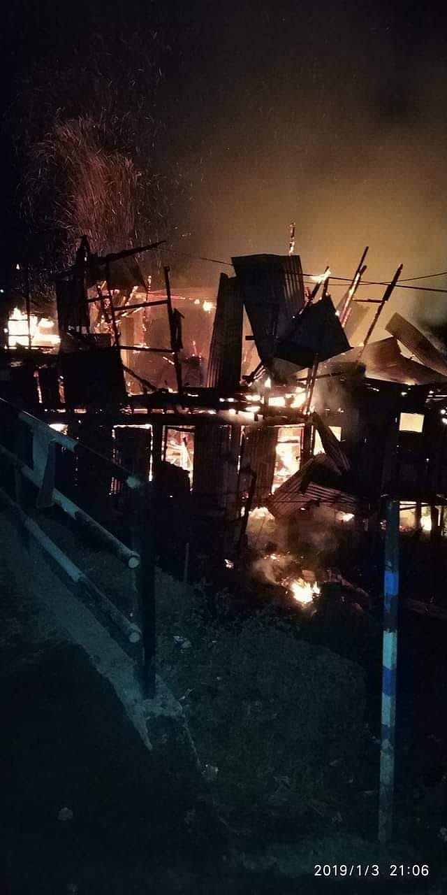 The fire was doused within 20 minutes at the market complex of Changlang township on Thursday night