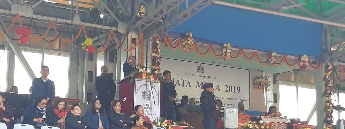 Chief minister Pawan Chamling addressing a public gathering during the Mela.