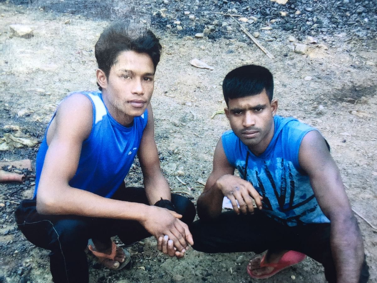 Amir Hussain (right), one of the 15 miners who have been trapped inside an illegal coal mine in Meghalaya's East Jaintia Hills since December 13 last year. Hussain hailed from Bhangnamari village in Assam's Chirang district