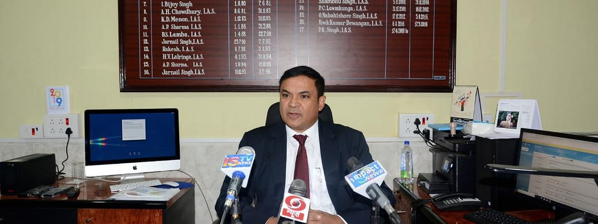 Manipur chief electoral officer PK Singh addressing media persons on Wednesday
