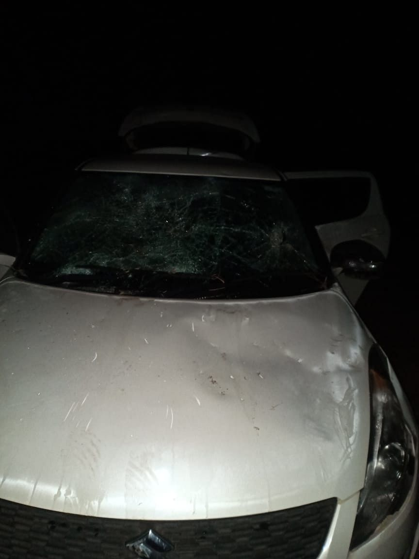 The windshield, rear-view mirror and bonnet of the car were damaged by unknown miscreants near Mawkma village in Sohra, Meghalaya