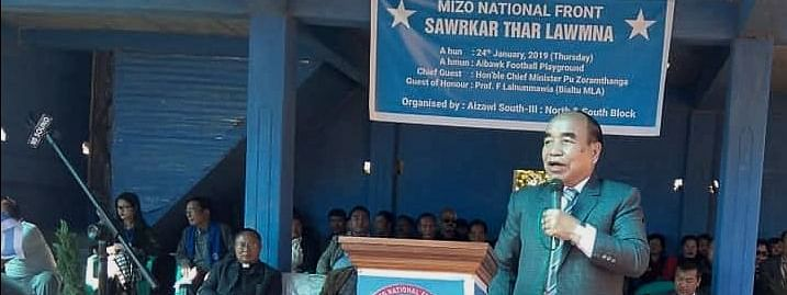 Chief minister Zoramthanga addressing a function at Aibawk village near Aizawl