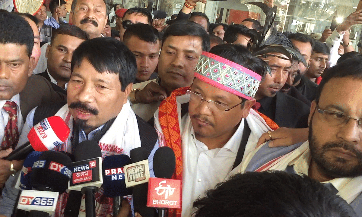 Conrad Sangma, AGP leaders get  hero's welcome at Guwahati airport