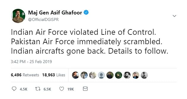 Major General Asif Ghafoor of the Pakistani Armed Forces took to Twitter to confirm the IAF attack on Balakot