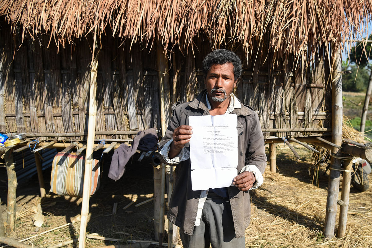 Mohanta Pegu, a resident of Bamungaon village, awaits to be compensated since 2013