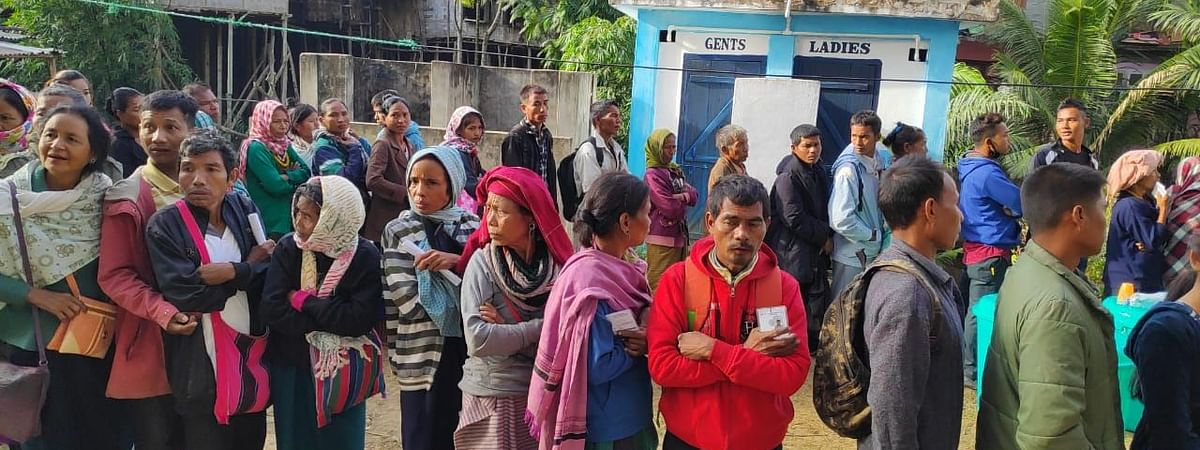 Bru refugees from Tripura casting their votes during the Mizoram assembly elections in November last year