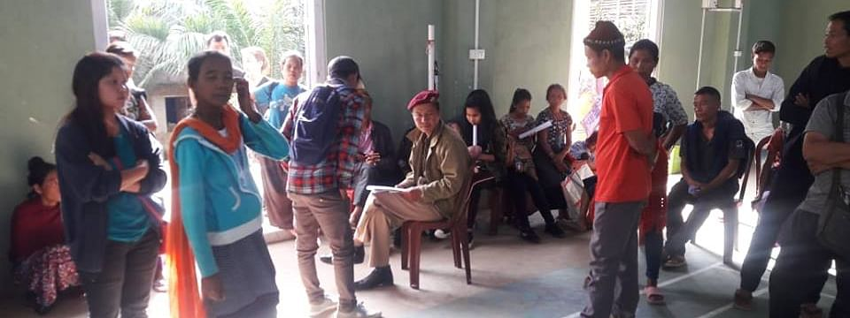 Bru voters appearing in an electoral hearing at Kanhmun village in Mizoram's Mamit district on Tuesday