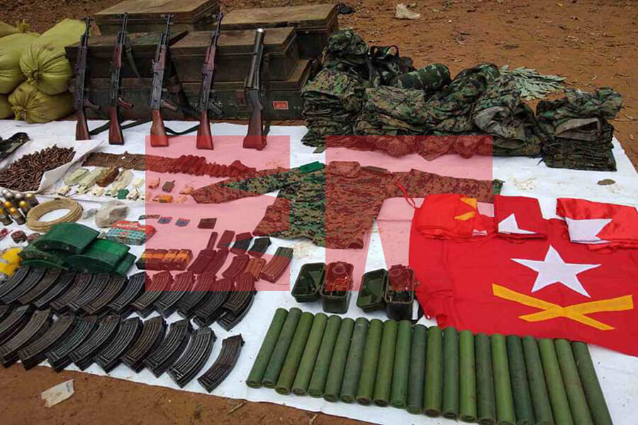 A huge cache of arms and ammunition were recovered by the Myanmarese Army during the operation on January 29