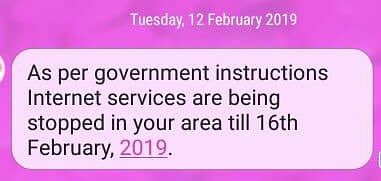 A screenshot of a message from the Reliance Jio network intimating users in Tripura about the suspension of Internet services