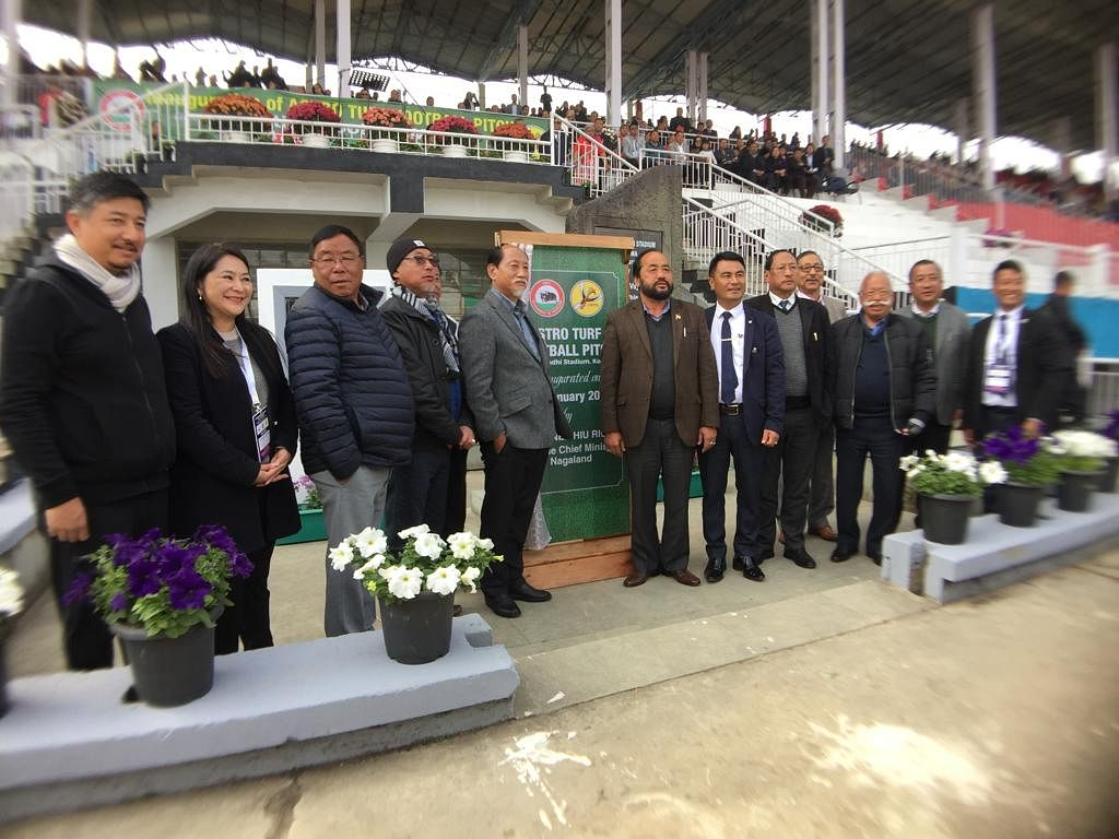 Nagaland CM Neiphiu Rio during the inauguration of the astro-turf pitch at the Indira Gandhi Stadium in Kohima