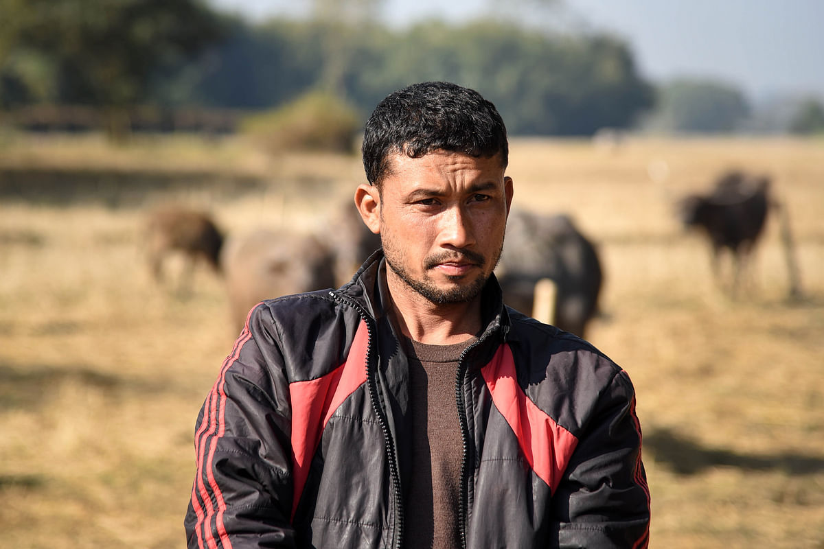 Mohan Pegu, owner of a cattle farm at Bamungaon village, whose four buffaloes were killed by a tiger in 2016