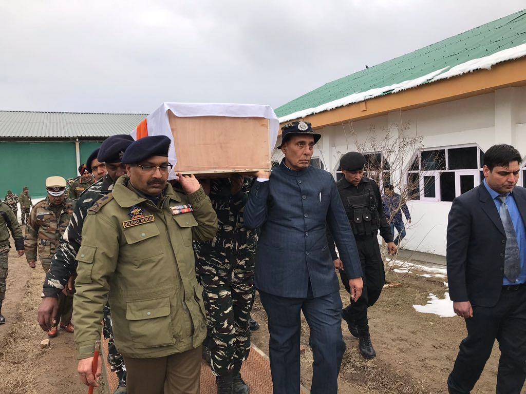 Union home minister Rajnath Singh and Jammu & Kashmir director general of police Dilbag Singh turned pallbearers for one of the fallen CRPF soldiers in Budgam district on Friday
