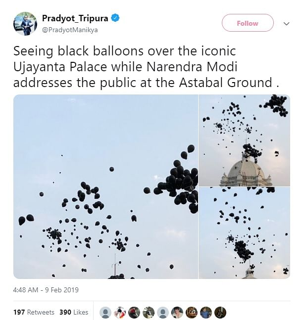 Screenshot of tweet posted by Tripura Congress leader and royal scion Pradyot Kishore Manikya Debbarma after black balloons were seen hovering over the sky while Prime Minister Narendra Modi was addressing a rally at Astabal Ground in Agartala on Saturday