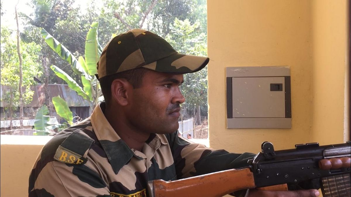 BSF personnel keep a close eye on activities across the border area