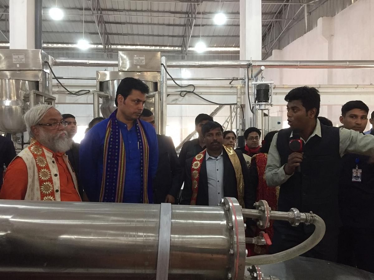 Chief minister Biplab Deb inspecting the food processing machines