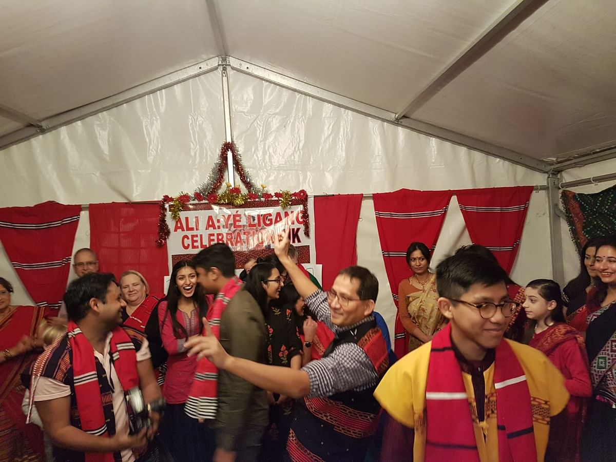 Members of Assam's Mising community celebrating Ali-Aye-Ligang with friends and well-wishers in London, UK