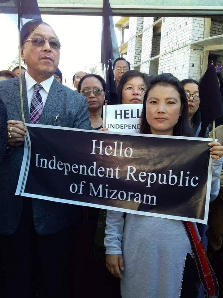 Former Mizoram CM and Congress leader Lal Thanhawla at a protest rally organised by the NGO Coordination Committee in Aizawl against the Citizenship (Amendment) Bill