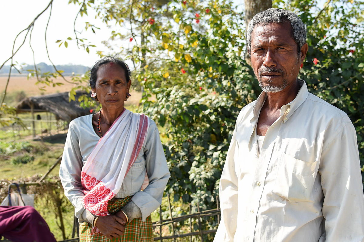 Tarun Doley and his wife Mina, both farmers from Bamungaon village. Around 30 elephants attacked their home around midnight in April 2017. They lost all seeds and saplings stored inside the home. They claimed around Rs 40,000 as compensation but till date did not receive any support from the forest department