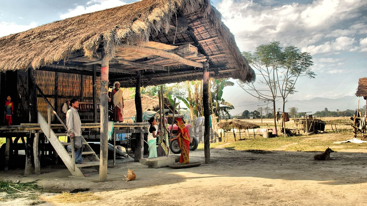 A traditional house of the Mising community in Assam