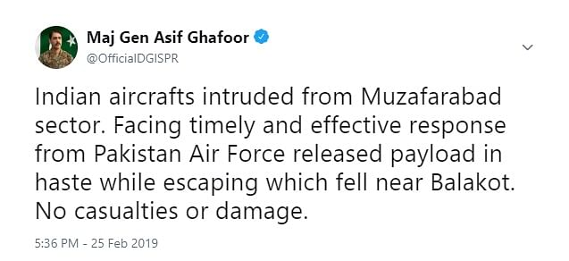 The Major General soon posted a series of tweets confirming IAF strike
