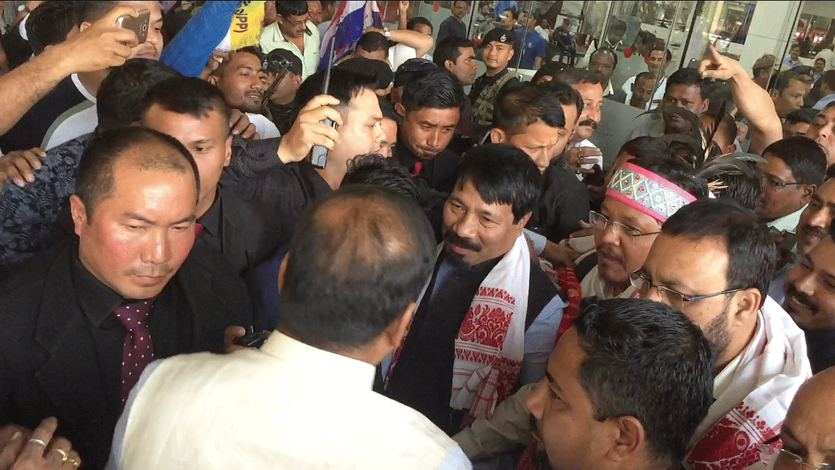 Meghalaya CM Conrad K Sangma, AGP leaders Atul Bora and Keshab Mahanta addressing media persons after their arrival at the LGBI airport in Guwahati