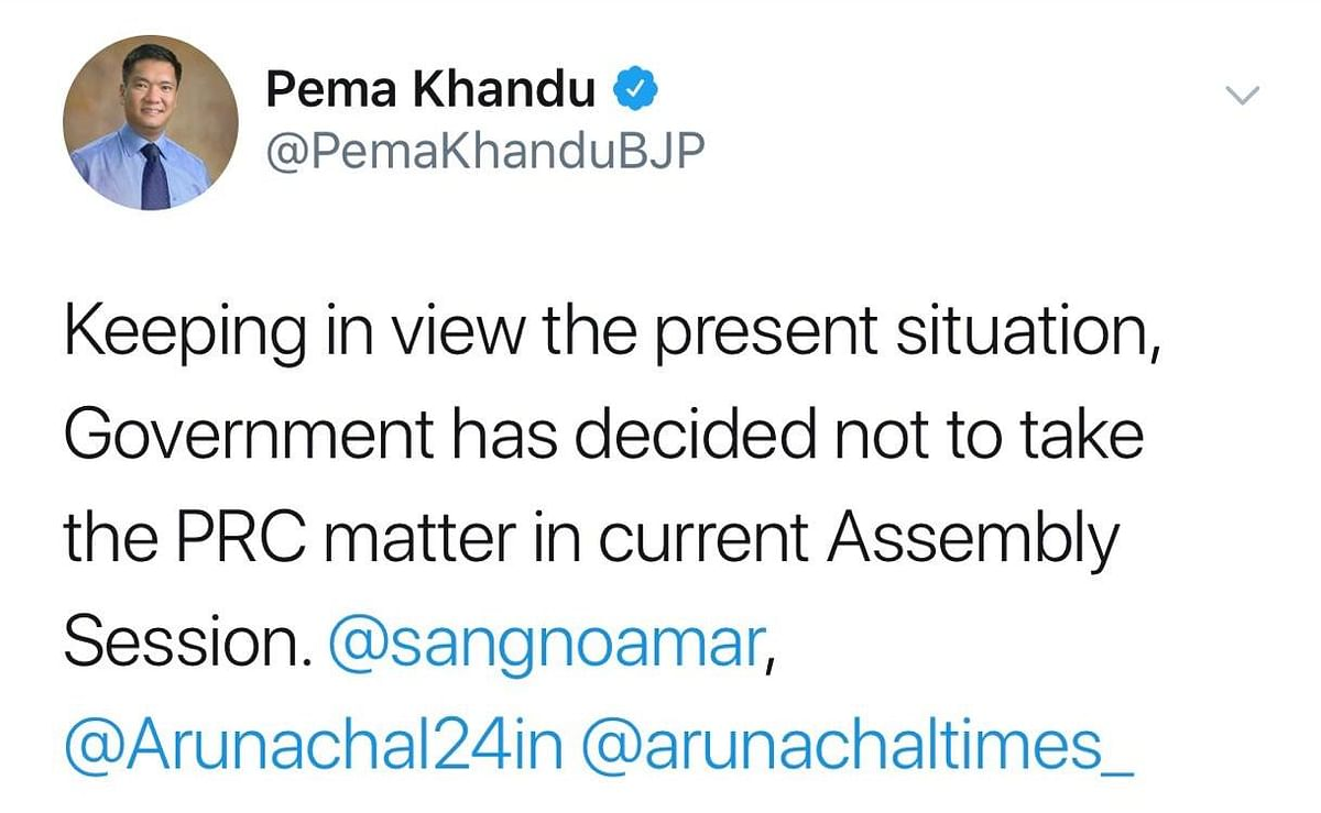 Screenshot of the post shared by Arunachal chief minister Pema Khandu