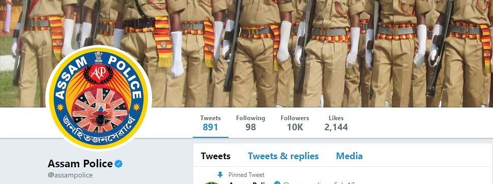 Screenshot of official tweeter page of Assam Police