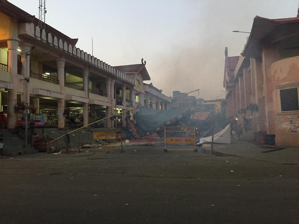 Six women protestors were injured when police resorted to tear gas shells and mock bombs at the iconic Ima Keithel market in Imphal, Manipur on Sunday evening