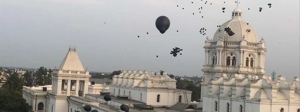Black balloons were seen over the Ujayanta Palace in Agartala during PM Narendra Modi's rally in Tripura on Saturday