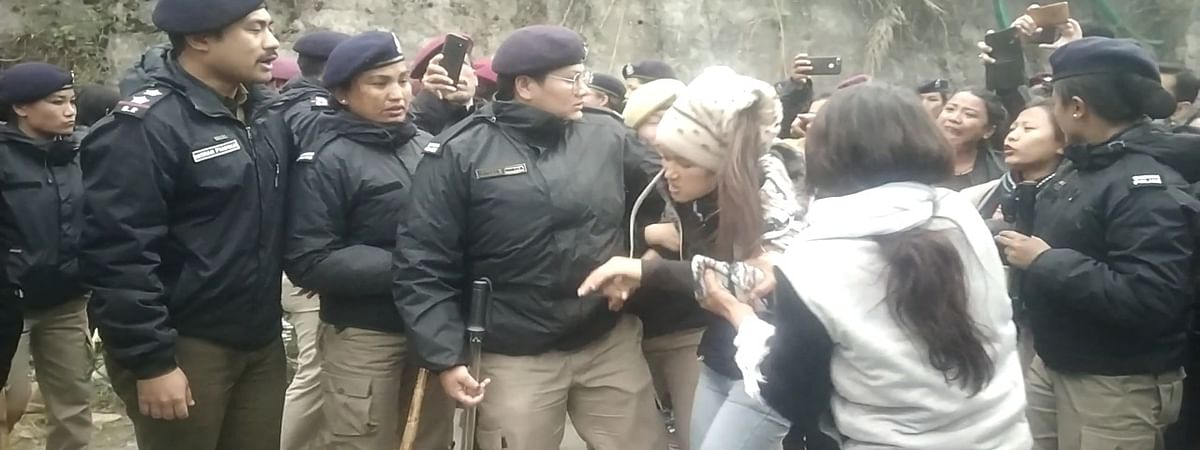 Personnel of Sikkim Police allegedly manhandled some of the women protesters on International Women's Day on Friday
