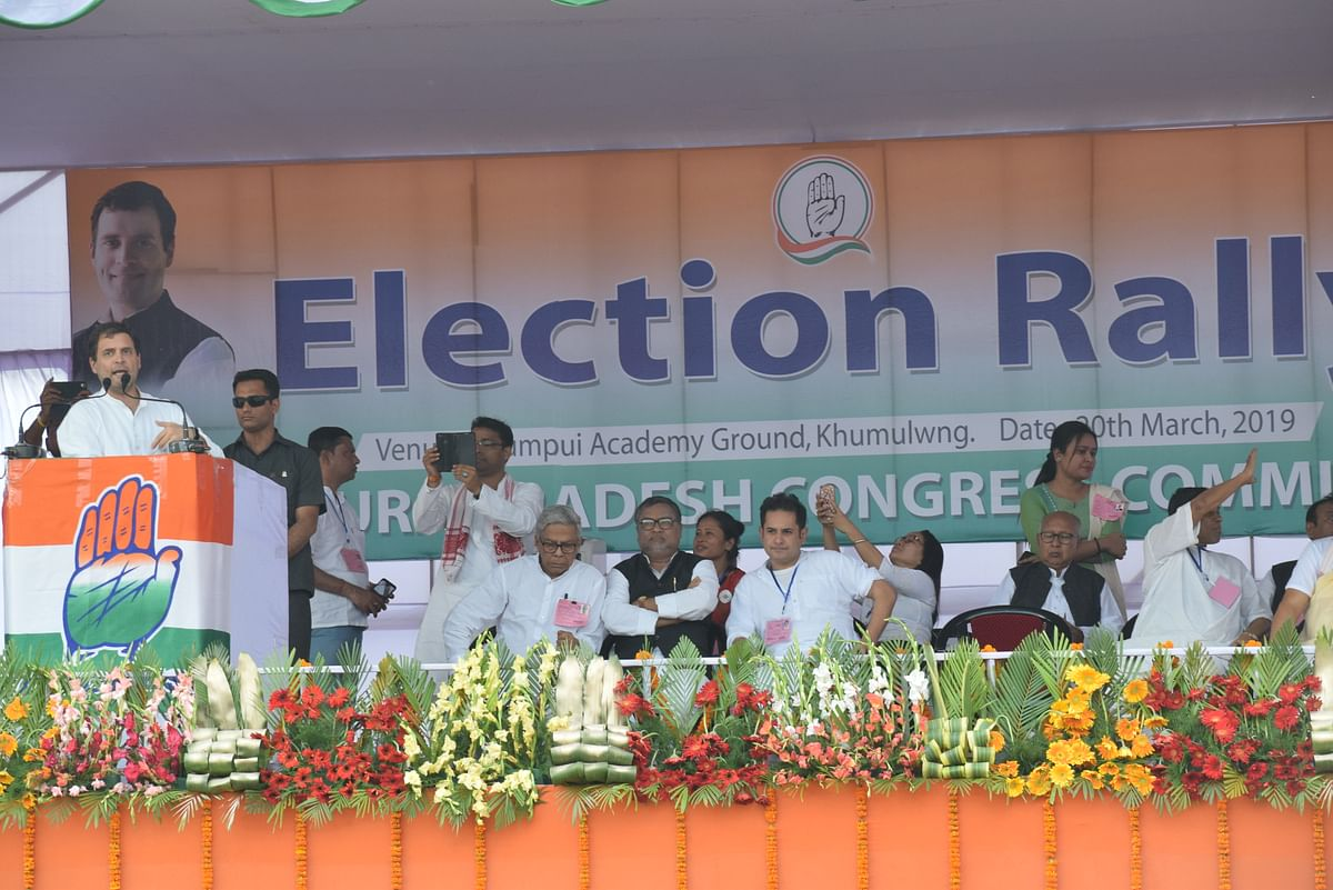AICC leader Rahul Gandhi during an election rally in Khumulwng, the headquarters off the Autonomous District Council, in Mizoram