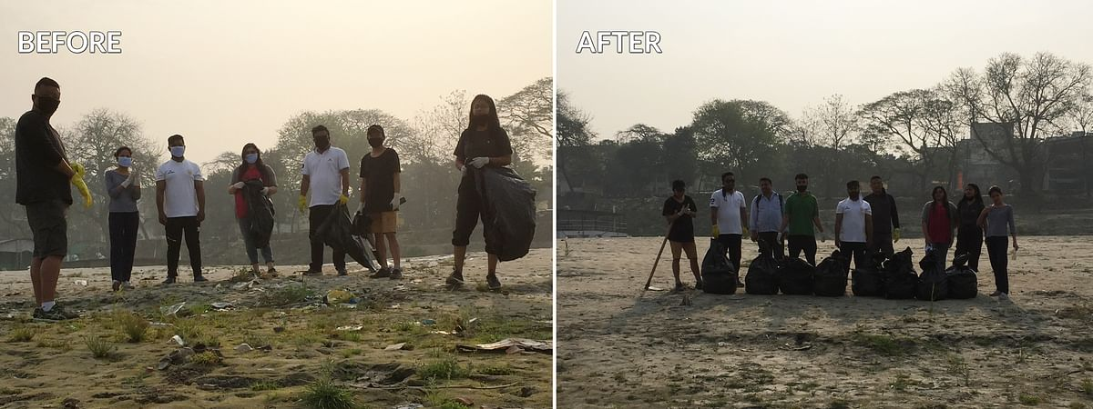 EastMojo team members cleaning up the Brahmaputra river bank in Guwahati, Assam as part of the viral '#Trashtag Challenge' on Friday morning
