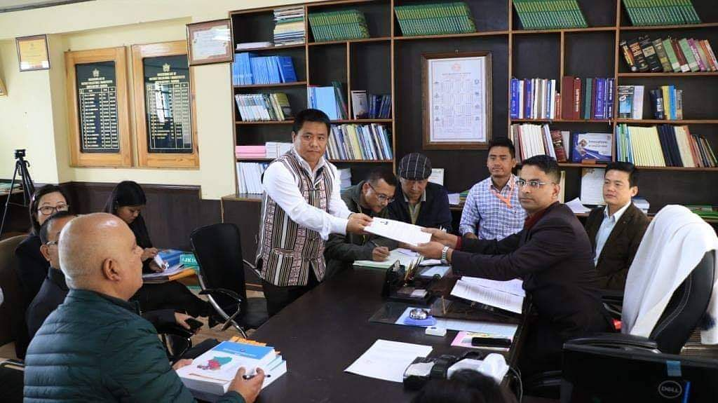 A candidate filing nomination before the North Sikkim district regional officer
