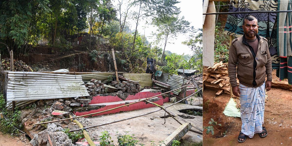 Signs of 'brutality' post the eviction drive in Amchang still present across Yusuf Nagar in Kamrup district, Assam; (right) Abdul Hakim, an evictee