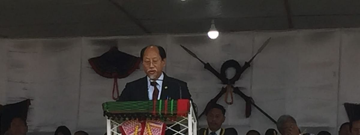 Nagaland chief minister Neiphiu Rio addressing the gathering in Piphema.
