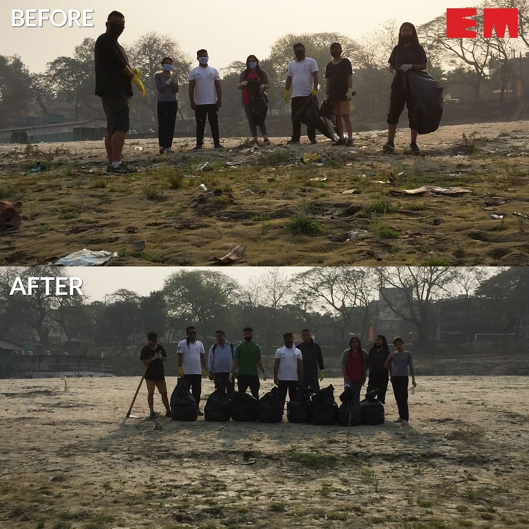 EastMojo accepts #Trashtag Challenge, cleans up Brahmaputra bank