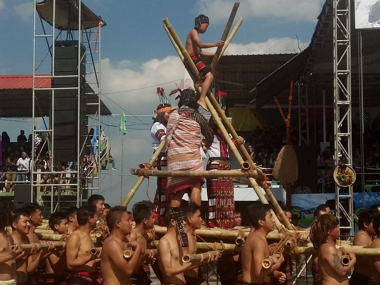 YMA troupe showcases Mizo traditional practice 'Khuangchawi' on the second day of Chapchar Kut celebrations in Aizawl on Friday