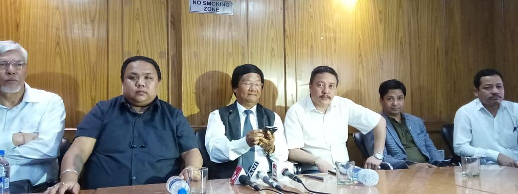 Leaders of Gorkha National Liberation Front and Gorkha Janmukti Morcha address a press conference in New Delhi on Tuesday