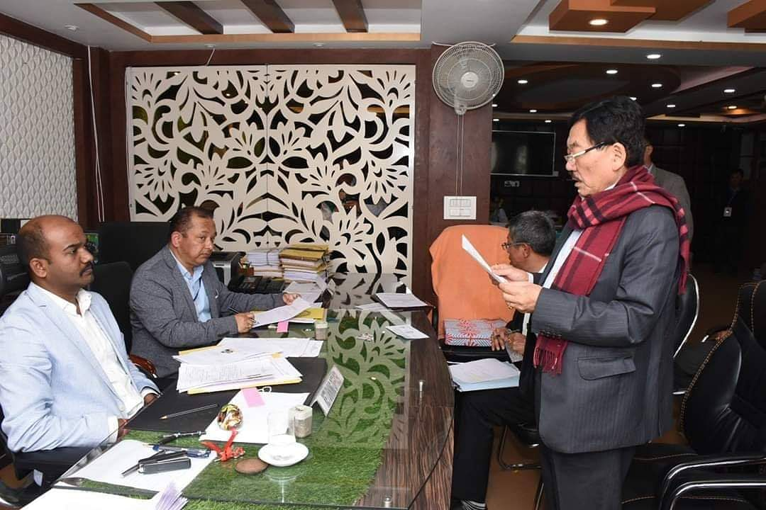 Chief minister Pawan Kumar Chamling filing his nomination in South Sikkim district