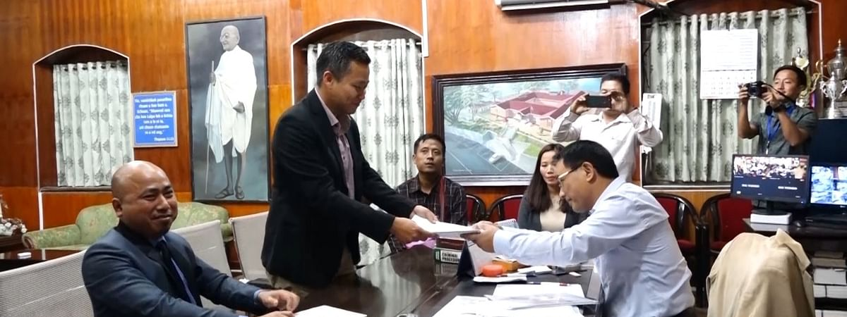 Zoram People's Movement (ZPM)-Congress combine nominee Lalnghinglova Hmar filing his nomination for upcoming Lok Sabha polls
