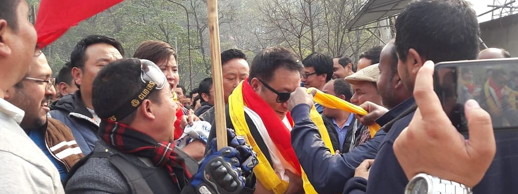 Tshering Wangdi Lepcha, candidate from Sikkim Democratic Front seen campaigning in North Sikkim