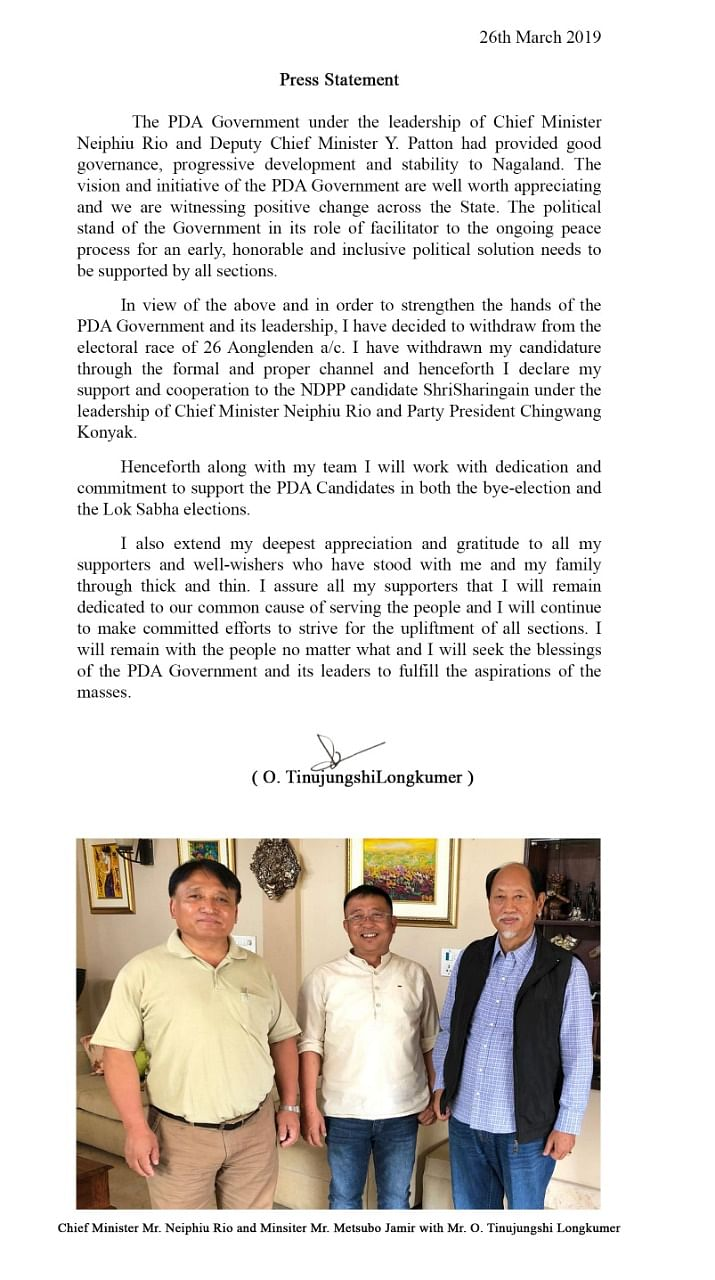 Press released by O Tinujungshi Longkumer announcing his withdrawal of candidature for the Aonglenden assembly constituency