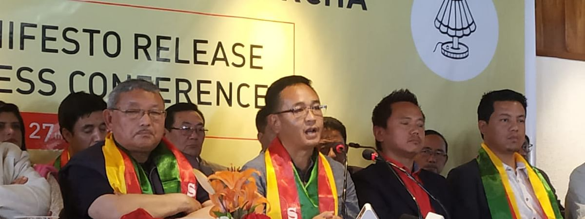 SKM leaders releasing party manifesto during a press conference on Wednesday
