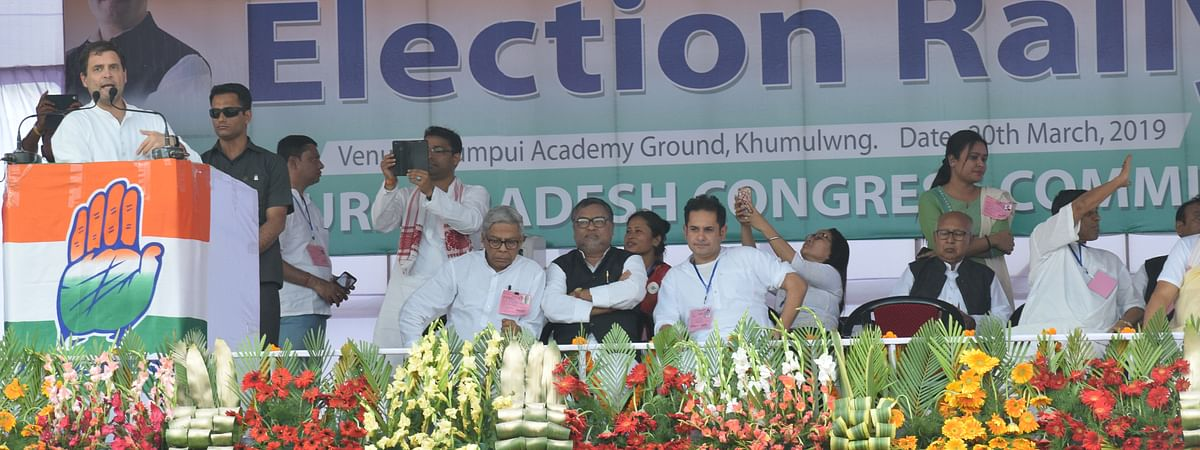 AICC president Rahul Gandhi at a rally in Northeast earlier this month
