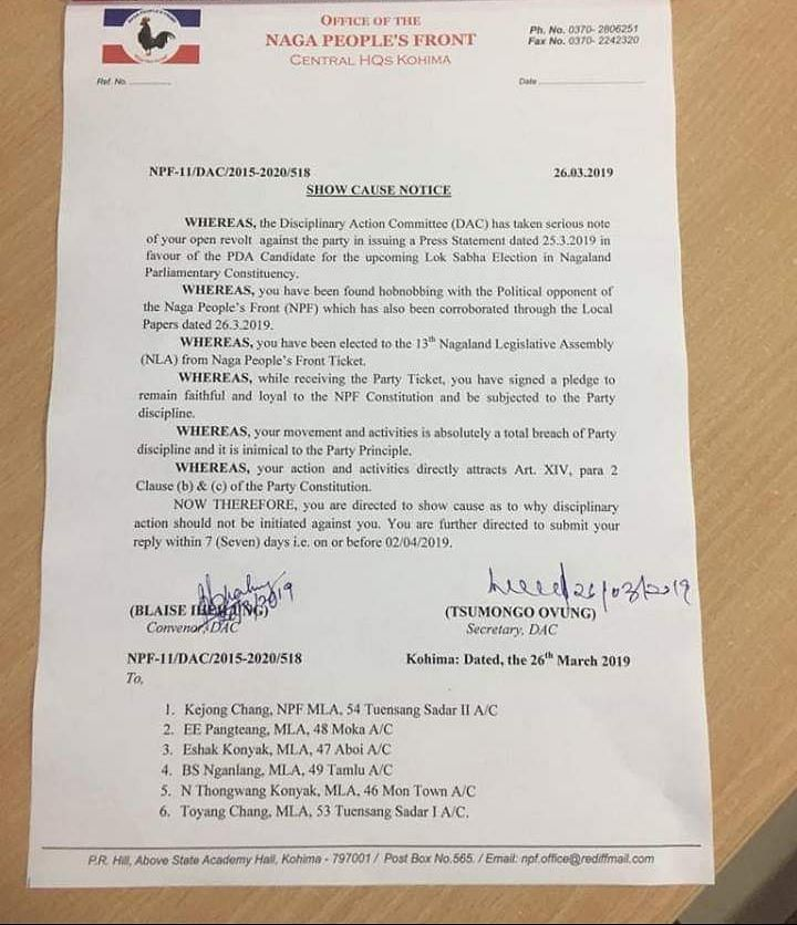The show cause notice issued by opposition Naga People's Front