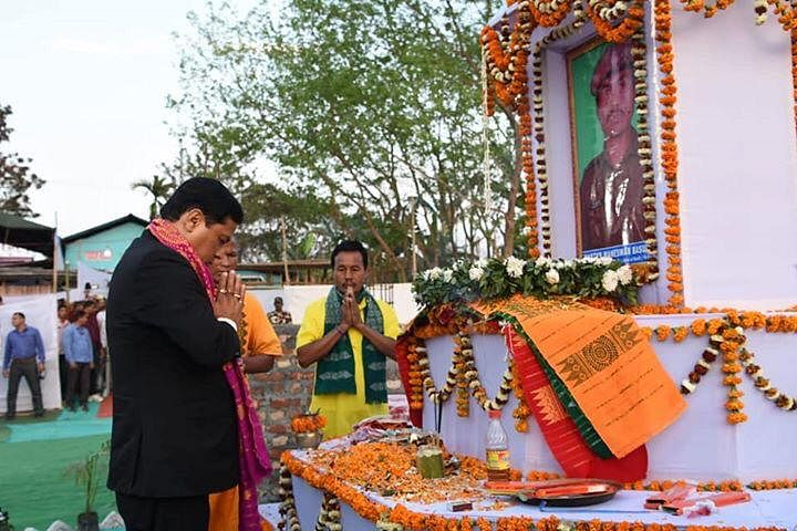 Assam chief minister Sarbananda Sonowal offers tribute to slain CRPF jawan Maneswar Basumatary at Tamulpur in Baksa district