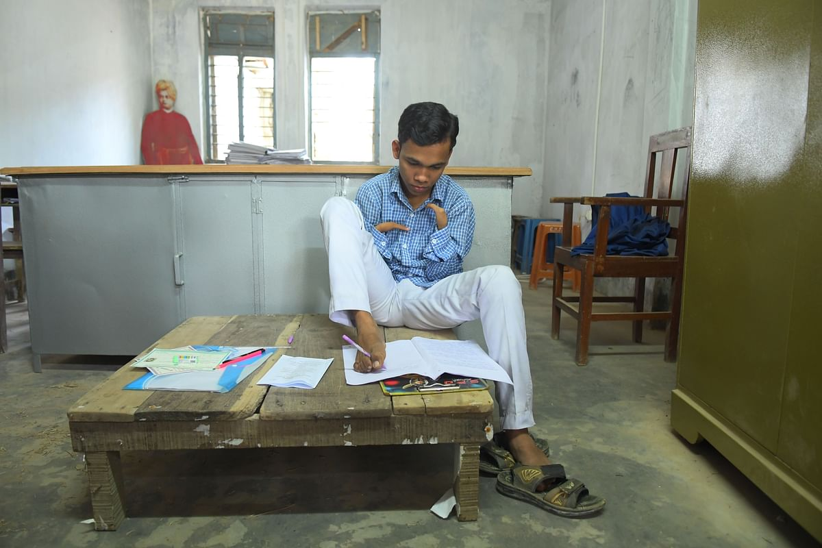 Pralay Dey, who's writing this year's Class X board exams using his feet